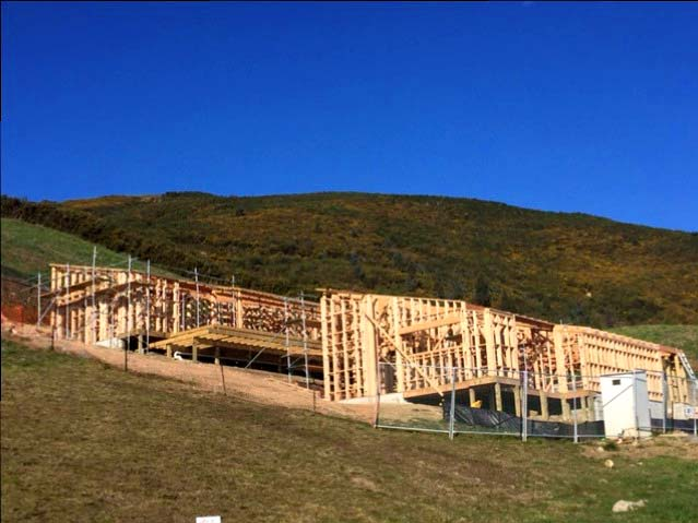 Wooden framing going up